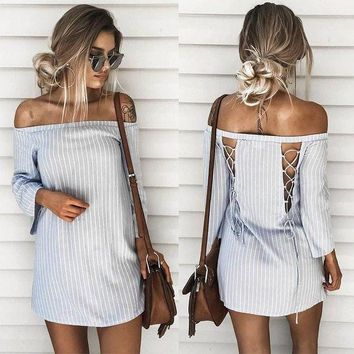 Patchwork Backless Stripes One Piece Dress