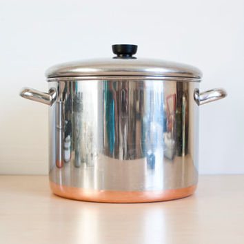 Vintage Revere Ware Restaurant Style 10 Quart Stock Pot, Revereware Home Canning Pot, Copper Bottom Cookware, Clinton Ill, USA