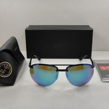 Kalete RAY-BAN CHROMANCE POLARIZED SUNGLASSES RB4293CH 601/A1 BLACK/BLUE LENS 64MM