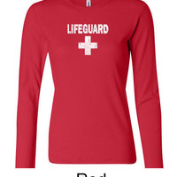 Ladies Funny Shirt Distressed Lifeguard Long Sleeve Tee T-Shirt DISTRESSEDLIFEGUARD-5001