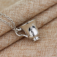 Free Shipping Once Upon A Time Rumbelle Bella Clip Tea Cup Pendant Charm Necklace