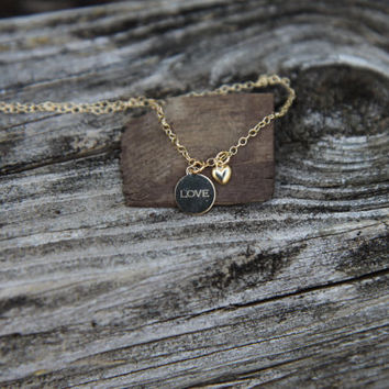 Gold Charm Necklace, Gold Heart Necklace, Gold Love Necklace, Gold Disc, Love Necklace, 14k Gold, Engraved Necklace, Anniversary