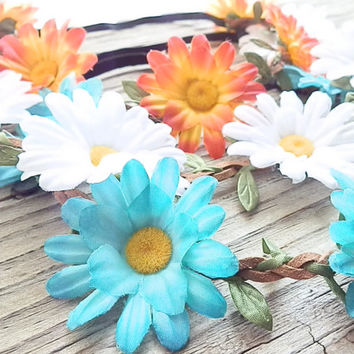 SALE GRAB BAG: Aqua Daisy flower crown headbands flower head wrap Hippie bands Festival crown coachella flower crowns with elastic back