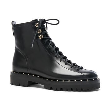 Valentino Leather Soul Rockstud Combat Boots in Black | FWRD