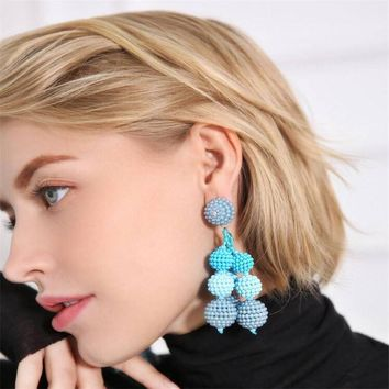 GEREIT Hot Sweet Classical Candy Color Korean Earrings Big Beads Ball Long Tassel Statement Earrings For Women Kpop Boho Jewelry