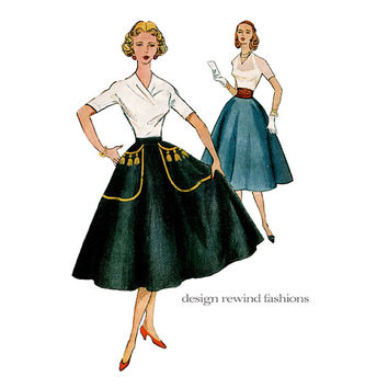 1950s CIRCLE SKIRT PATTERN Rockabilly Skirt & Cummerbund Pattern Transer Pockets Simplicity 4301 Waist 26 Women's Vintage Sewing Patterns