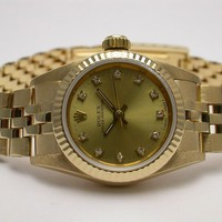 ROLEX 67198 OYSTER PERPETUAL 18K YELLOW GOLD DIAMOND LADIES AUTOMATIC WATCH
