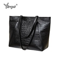 YBYT brand 2017 new fashion casual glossy alligator totes large capacity