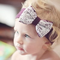 Lace Bow Head Wrap - Plum and Lace Stretch Head Wrap with Bow
