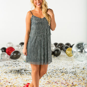 Metallic overlay dress-more colors