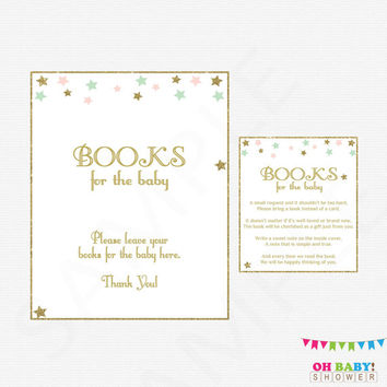 Twinkle Twinkle Little Star, Bring a Book Instead of Card, Pink Mint Gold Baby Shower, Book Request, Girl Baby Shower, Printables, STPMG