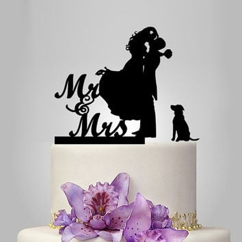 Wedding Cake Topper silhouette, wedding Cake decoration, mr and mrs cake topper with dog, funny cake topper, unique wedding cake idea