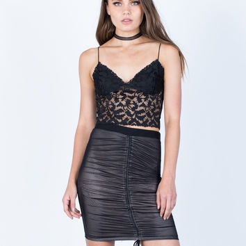 Ruched Mesh Skirt