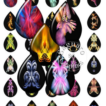 Fractal Cuddly Critters Glow Drawings Art - Digital Collage Sheets - 28x40mm Teardrops for Jewelry Makers, Party Favors, Crafts Projects