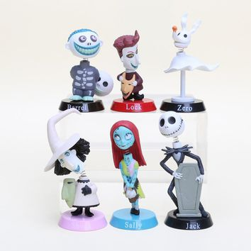 6pcs/set The Nightmare Before Christmas Jack Sally PVC Action Figures Collectible Model Toys