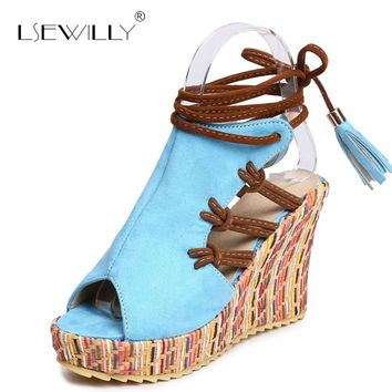 Lsewilly Summer Beach Sandals Bohemia Wedge Gladiator Casual Peep Toe Fashion Girls Shoes Women Platform Sandals Size 34-43 B21