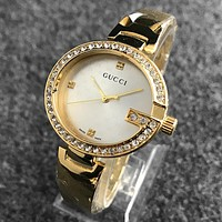 GUCCI Popular Women Men Simple Business Diamond Print Watch Wrist Watch Gold White Dial