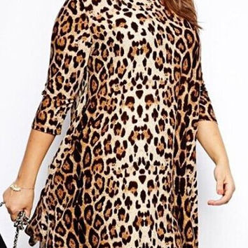 Leopard Print Plus Size Dress
