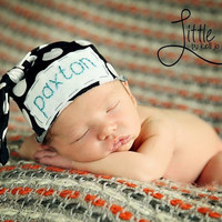 Baby knot hat- black & white polka dot w/ embroidered name- photo prop- newborn- baby boy- baby girl- modern baby
