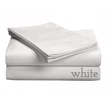 "Classic Collection-300ct Combed Cotton Percale Weave Deep Pocket Upto 18"" Pocket Sheet Sets Cal King White"