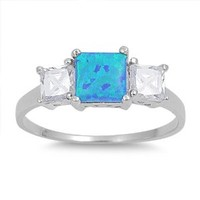 Three Stone Square Blue Lab Opal and Clear CZ Ring in Sterling Silver Size 5