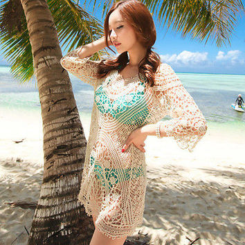 Sexy Women Lace Hollow Crochet Long Sleeve Bikini Swimwear Cover Up Beach Dress