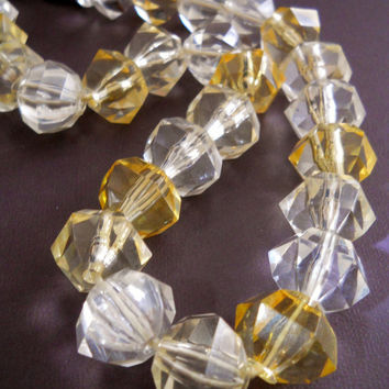 Vintage Lucite Necklace Clear Yellow Large Vintage Bold