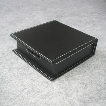 casual note paper holder case with lid card box organizer office desk desktop stationery organization black 312A