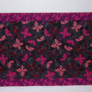 Purple Black and Lavender Table Runner with Butterflies