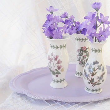 Shabby Victorian Portmeirion Botanic Garden Susan Williams Ellis Vase Set of 3, French Farmhouse, Cottage Style, English Country
