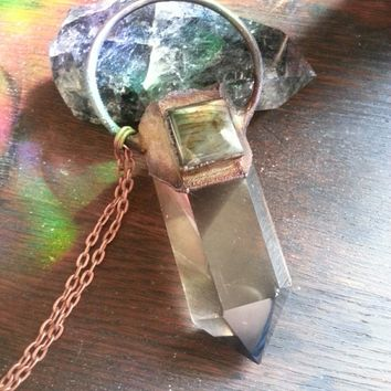 Electroformed Smoky Citrine and Labradorite Pendant