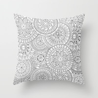 Circle Doodle Art Throw Pillow by Kate & Co.