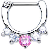 """16 Gauge 5/16"""" Five Clear and Pink Cubic Zirconia Septum Clicker 