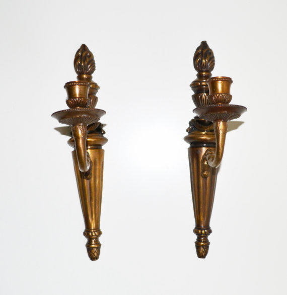 Antique Wall Sconce Candle Holders : Vintage Brass Candle Wall Sconces Candle from JudysJunktion on