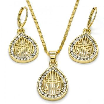 Gold Layered 10.99.0016 Earring and Pendant Adult Set, Greek Key and Teardrop Design, with White Crystal, Polished Finish, Golden Tone