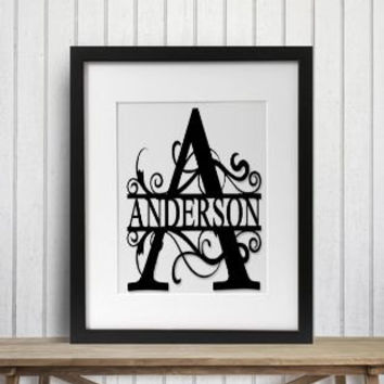 Framed Monogram Personalized 14 x 17 Hanging Wall Decor - Wedding / Birthday / Anniversary / Christmas / Hostess Gift