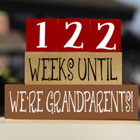 Grandparents Countdown Blocks Weeks Days Until  – Pregnancy Countdown – Grandma Pregnancy Announcement – Gift