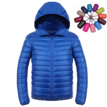 Men parkas Ultra light packable winter jacket men hooded men's down jacket