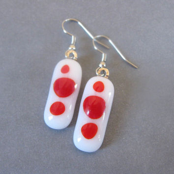 Red and White Fused Glass Earrings, Fused Glass Jewelry, Fused Glass Earrings, Long - Dot to Dot  by mysassyglass