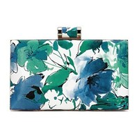 Floral Wash Painting Leather-look Box Clutch Bag in Blue and Green from mobile - US$25.95 -YOINS