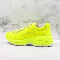 Gucci Rhyton Yellow Fluorescent Leather Sneaker - Best Online Sale