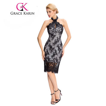 Grace Karin Lace Cocktail Dresses Elegant Black Party Gowns Floral Backless Halter Sexy Robe De Cocktail Short Prom Dresses 2017