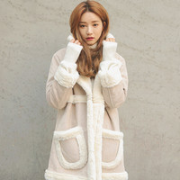 Patch Pockets Faux Shearling Coat