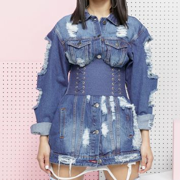 DANA DARK DENIM DISTRESSED LONG JACKET
