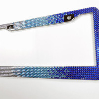 Blue Rhinestone License Plate Frame, 7 Row Blue & Silver Fade Bling Plate Frame, w/Screw Cap Covers, Crystal Car Accessory, Bling Car Decor