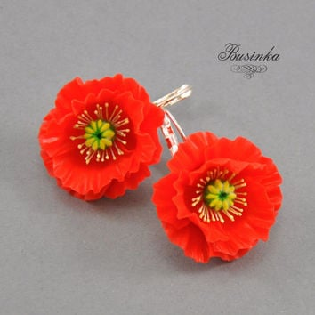 Red Poppies Earrings - poppy earrings - red poppies - poppies flower - flower jewelry - poppies beauty - wildflowers