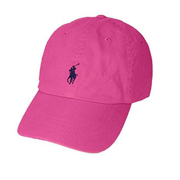 Polo Ralph Lauren Pony Logo Hat Cap Maui Pink with Navy pony