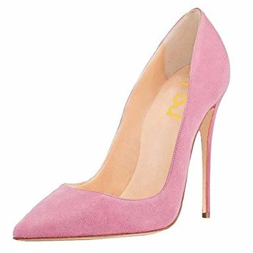 FSJ Women Sexy Suede Pointed Toe Pumps 12 cm High Heels Stilettos Prom Shoes Size 4-15 US