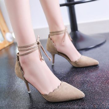 Stiletto Heel Low Cut Pointed Toe Ankle Strap High Heels