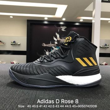Adidas D Rose 8 Men Black Yellow Boost Basketball Shoes